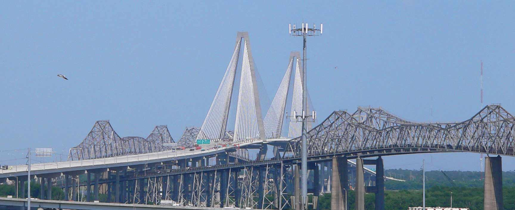 Old and New Ravenel Bridges in Charleston