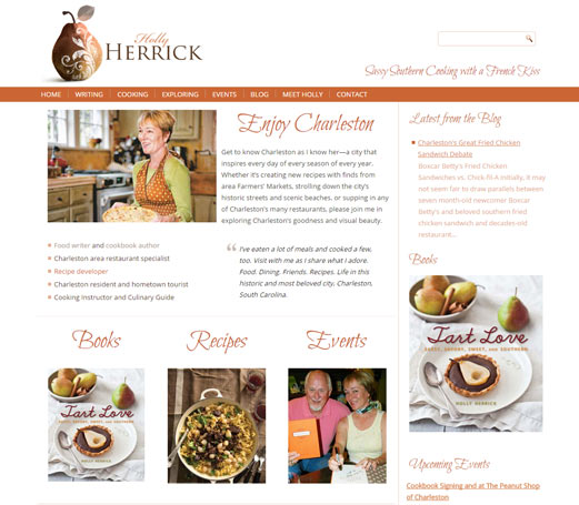 Screen shot of Holly Herrick's new website