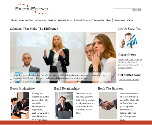 CBS Web Designs site for ExecuServe, LLC