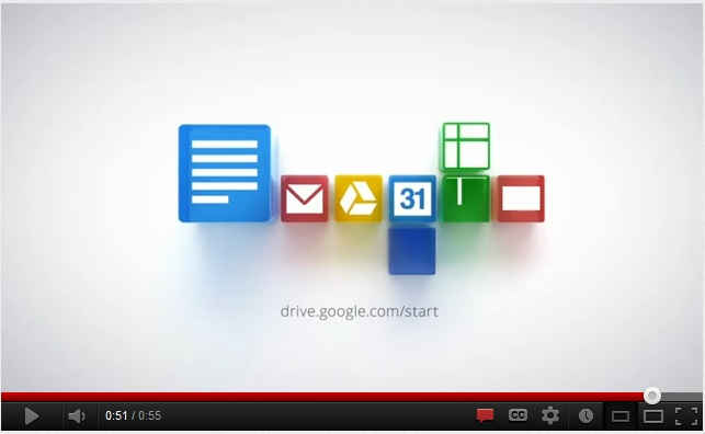Google Drive home page with YouTube video about Drive