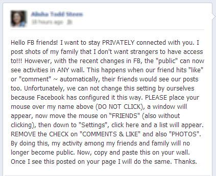 Fake Facebook Privacy Notice
