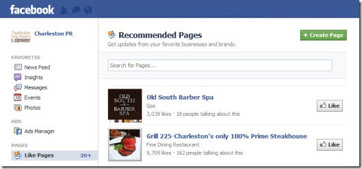 Facebook Recommends Pages for you to Like