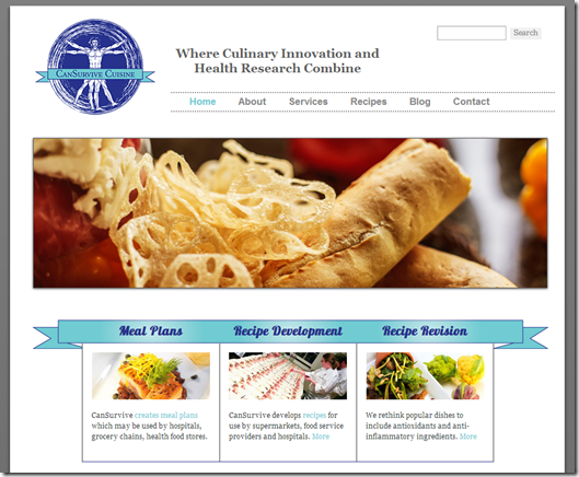 Screenshot CanSurvive Cuisine   Scientifically Based Meals  Menus  Consulting