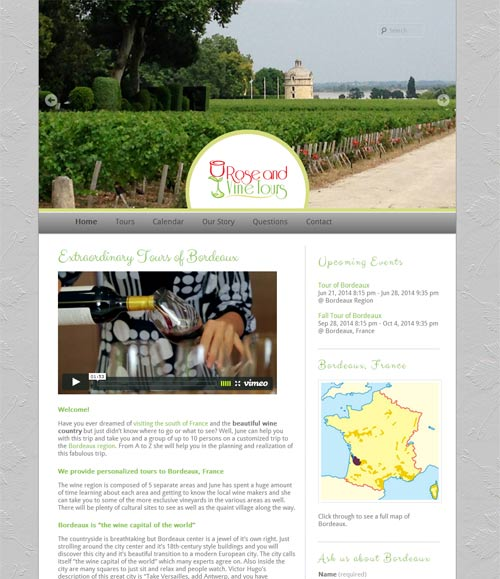 Rose and Vine Tours Website image