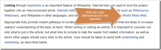 Hyperlink indicated by color difference