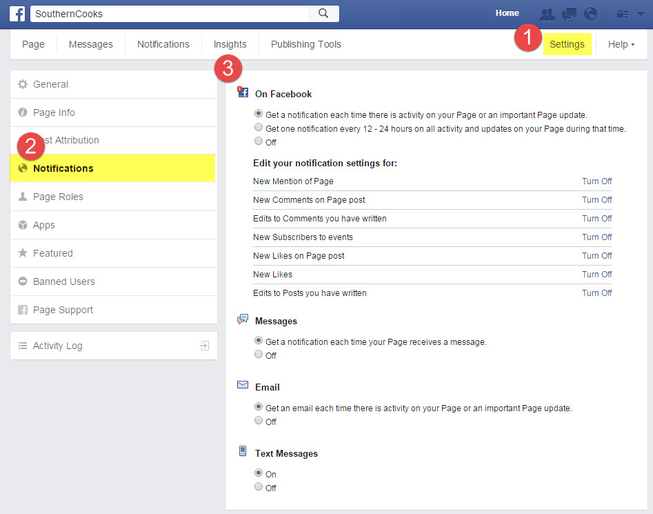 Screen capture of Facebook notification setting area
