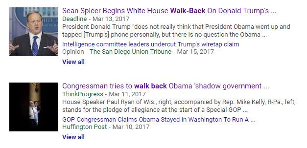 Walk backs in recent news headlines