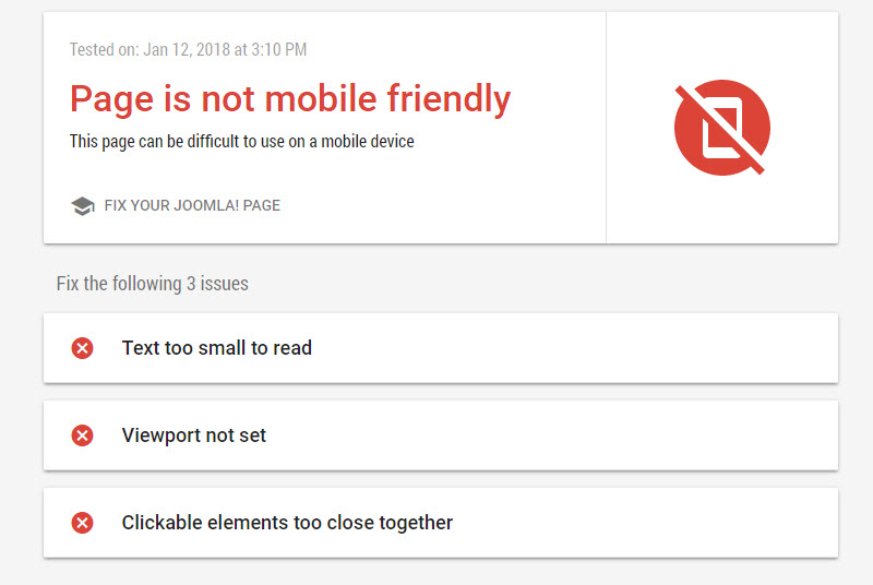 What Google tells you when they determine your site is not mobile friend.y