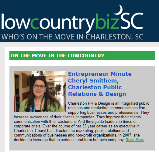 Lowcountry Biz SC features Charleston PR founder Cheryl Smithem