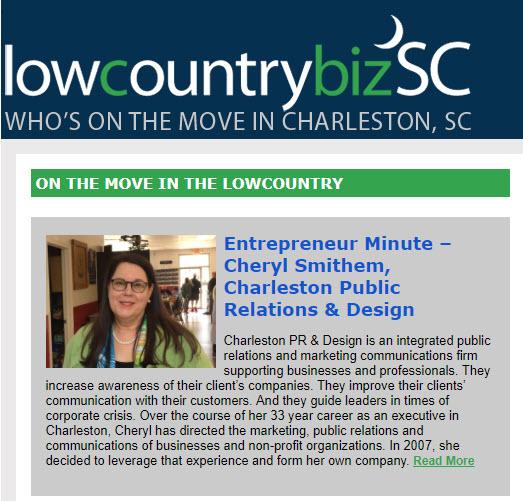 Lowcountry Biz SC features Charleston PR founder Cheryl Smithem