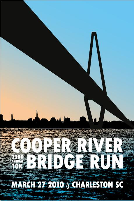 Bill Smithem's concept for a Cooper River Bridge Run poster