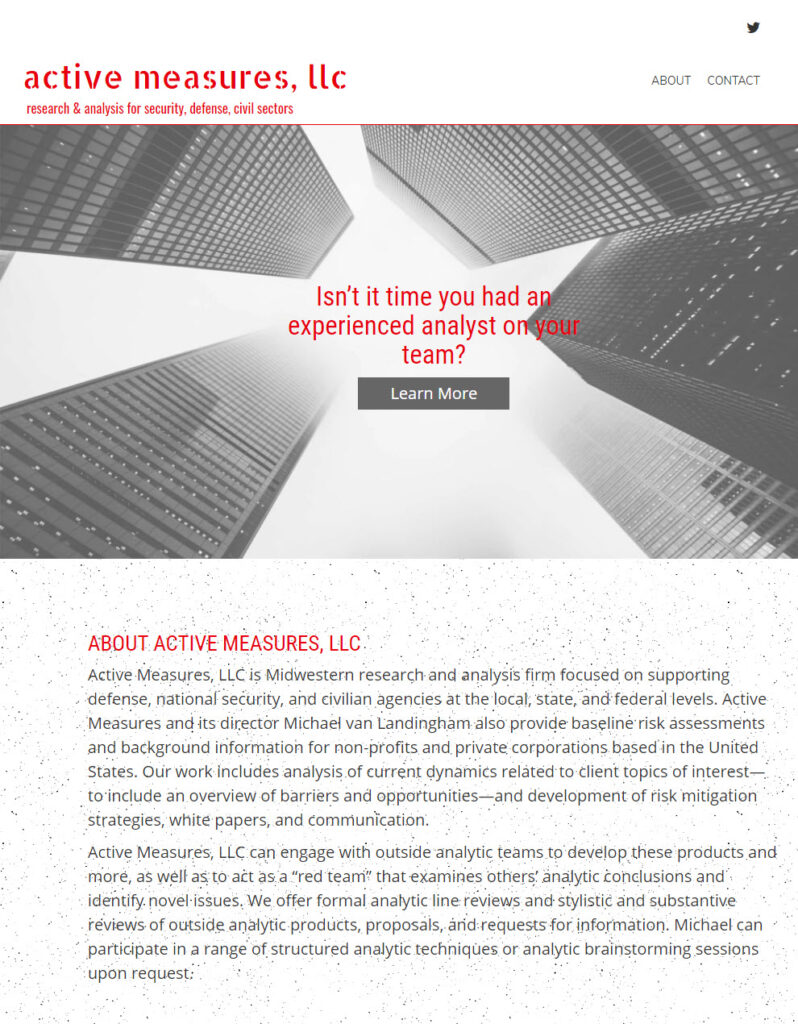 Active Measures, LLC website's home page
