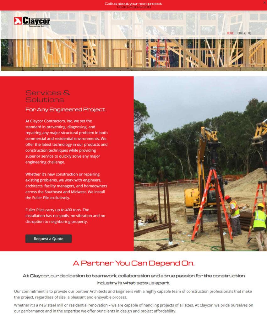 Claycor Contractors website image